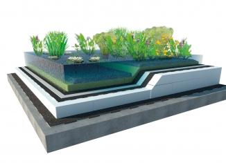 řez zelenou střechou s jezírkem - vizualizace