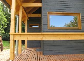 rekreační chata - terasa - dřevostavba