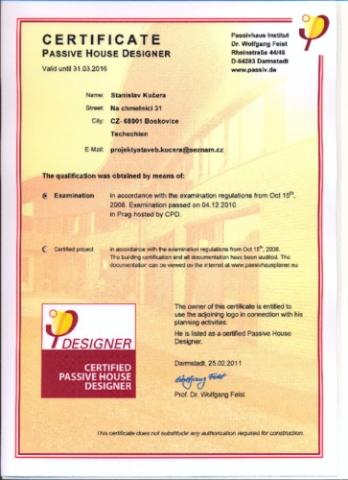 Certifikovaný návrhář pasivních domů - Kučera